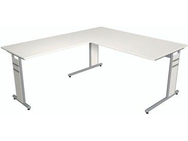 FORM 4 Schreibtisch mit Anbauelement, C-Fuß-Gestell, 160x180x68-82cm