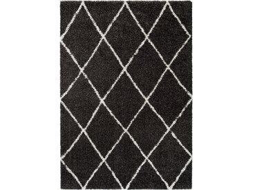 benuta TRENDS Hochflorteppich Gobi Anthrazit 160x230 cm - Berber Teppich