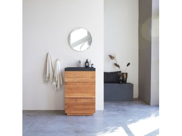 Waschtisch aus Eiche mit integrierten Lavastein Waschbecken 60 cm Einzel