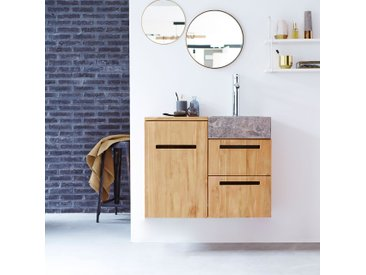Badmöbel mit Waschbeckenschrank und integriertem Waschbecken 83 cm Teak