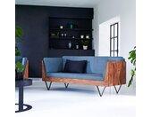 Sofa aus Palisanderholz und blauen Kissen