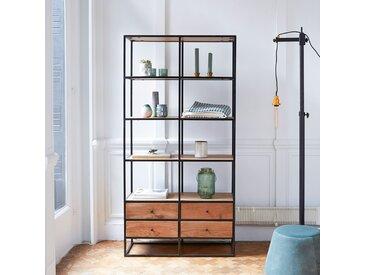 Bücherregal Wandregal 175cm industrieller Stil Materialmix Metall und Massivholz