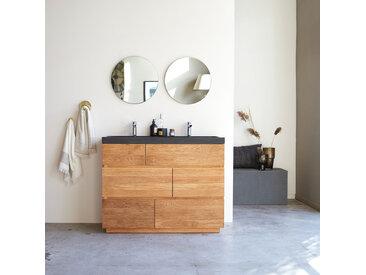Waschtisch aus Eiche mit integrierten Lavastein Waschbecken 120 cm