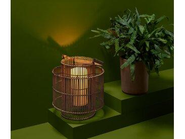 Windlicht mit LED-Kerze - creme - Rattan - Tchibo