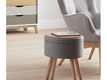 Stauraum-Sitzhocker mit Tischplatte - grau - Massivholz - Tchibo