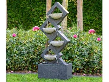 Dobar Gartenbrunnen mit 4 Schalen und LEDs - Steinoptik in verschiedenen Grautönen - Tchibo