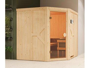 Karibu-Sauna »Brianna« mit Eckeinstieg - braun - Massivholz - Tchibo