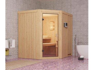 Karibu-Sauna »Lillian« - naturfarben - Edelstahl - Tchibo