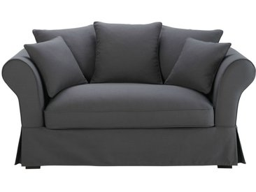Baumwoll-Bezug für 2-Sitzer-Sofa, schiefergrau Roma