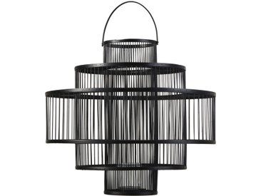 Laterne aus schwarzem Bambus und Glas H54