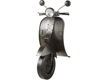 Wanddeko Scooter, beleuchtet und aus schwarzem Metall 53x123
