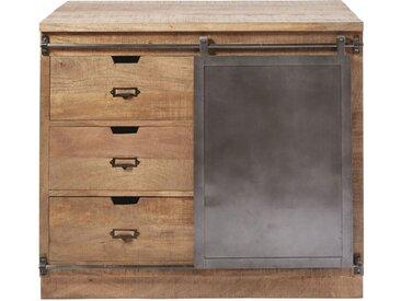 Küchenunterschrank mit 3 Schubladen und 1 Tür aus massivem Mangoholz Melchior