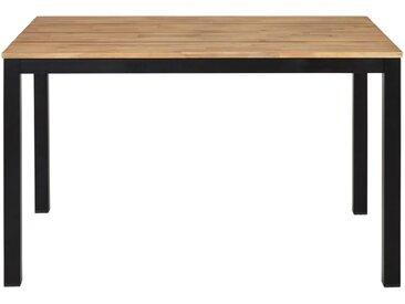 Gartentisch aus massivem Akazienholz und schwarzem Metall für 4/6 Personen L120 Oural