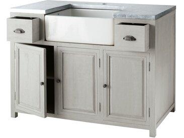 Küchenunterschrank aus Hevea-Holz mit Spüle, B 120 cm, grau Zinc