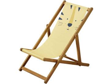 Kinder-Liegestuhl aus Akazienholz und Stoff, gelb mit Tigerkopf Mini Jungle