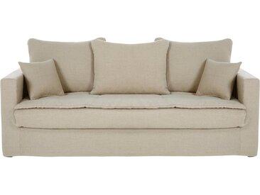 Ausziehbares 3-Sitzer-Sofa, Bezug aus gewaschenem Leinen, beige Célestin