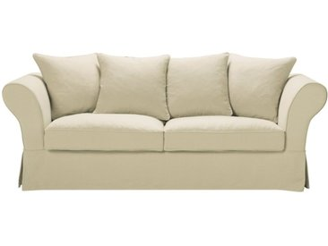Leinen-Crinkle-Bezug für feststehendes oder ausziehbares 3/4-Sitzer-Sofa (6 cm), seladonblau Roma