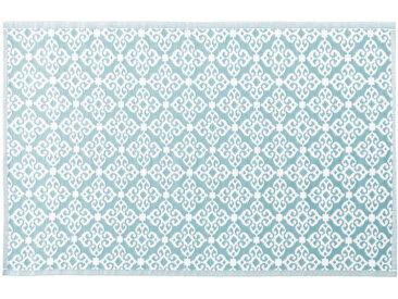 Outdoor-Teppich, blau mit weißen Grafikmotiven 180x270