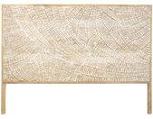 Kopfteil aus massivem geschnitztem Mangoholz B160