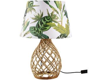 Kugellampe aus geflochtenem Rattan mit Lampenschirm mit Pflanzenaufdruck