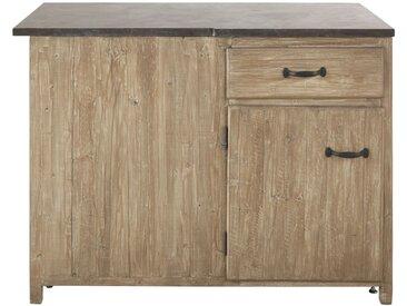 Eckunterschrank für Ecke rechts mit 1 Tür und 1 Schublade aus vergrautem recyceltem Kiefernholz Greta