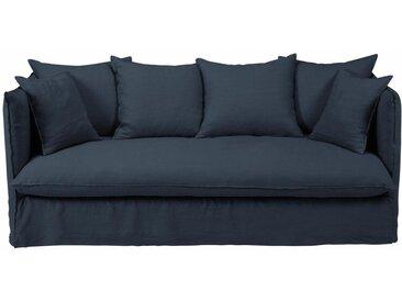 Leinen-Crinkle-Bezug für 3/4-Sitzer-Sofa, nachtblau Louvre