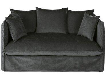 Husse für 2-Sitzer-Sofa aus dunkelgrauem Flamé-Samt Louvain