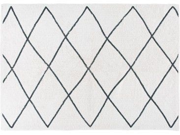 Berber-Baumwollteppich, ecrufarben und schwarz, 140x200