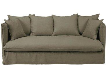Leinen-Crinkle-Bezug für 3/4-Sitzer-Sofa, khaki Louvre