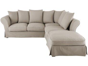 Baumwoll-Crinkle-Bezug für ausziehbares Ecksofa 6-Sitzer-Sofa (12 cm), kittfarben Roma