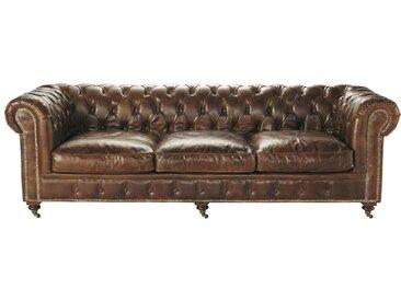 Gestepptes -Sofa 4-Sitzer aus Leder, braun Vintage Chesterfield