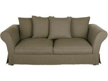 Leinen-Crinkle-Bezug für ausziehbares 3/4-Sitzer-Sofa (12 cm), khaki Roma