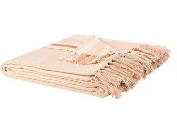 Decke aus Baumwolle mit Streifen und Fransen, 160x210