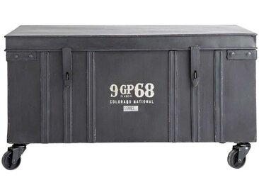 Rolltruhe im Industrial-Stil GIBSON aus Metall, B 85cm, schwarz