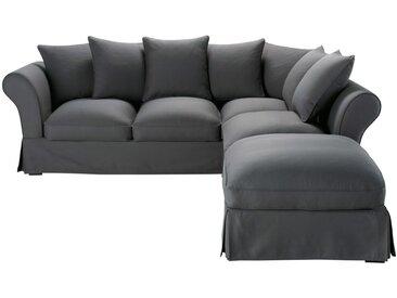 Baumwoll-Bezug für 6-Sitzer-Sofa, schiefergrau Roma