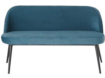 3-Sitzer-Vintage-Polsterbank mit blauem Samtbezug Maurice