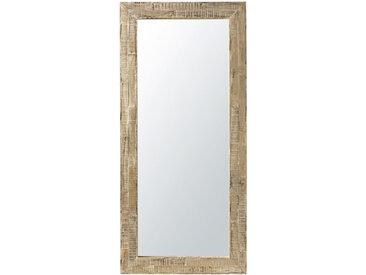 Spiegel mit Rahmen aus weiß pigmentiertem Recycling-Kiefernholz 94x207