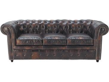 Gepolstertes -Sofa 3-Sitzer aus Leder, mokka Chesterfield