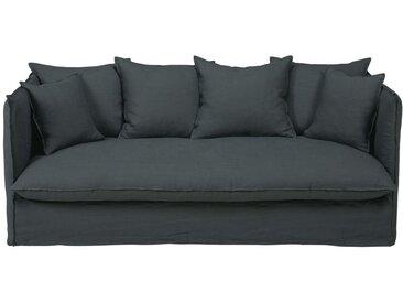 Leinen-Crinkle-Bezug für ausziehbares 3/4-Sitzer-Sofa, anthrazitgrau Louvre