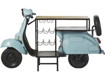 Barmöbel Scooter aus Metall und Mangoholz, blau Scooter