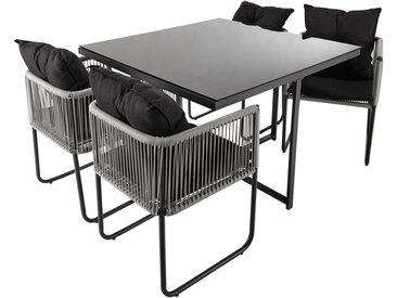 Gartentisch + 4 Gartenstühle aus Kunstharz, B 107 cm Swann