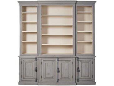 Bücherregal mit 4 Türen aus recyceltem Kiefernholz, blaugrau Maude