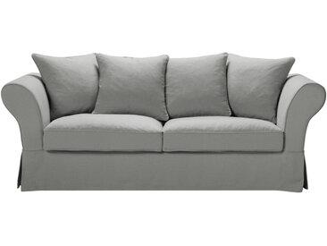 Leinen-Crinkle-Bezug für feststehendes oder ausziehbares 3/4-Sitzer-Sofa (6 cm), hellgrau Roma