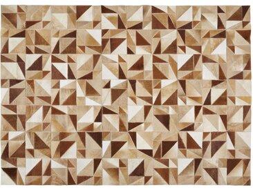 Patchworkteppich aus Vacheleder in Ecru und Braun 140x200