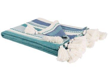 Decke aus Baumwolle mit Streifen, blau und grün 160x210