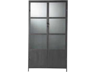 Vitrine im Industrial-Stil aus Metall, B 100cm, schwarz Edison