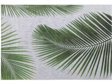 Outdoor-Teppich, grau, bedruckt mit Palmblattmotiven 155x230