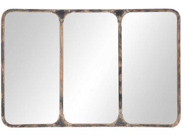 Metallspiegel im Industrial-Stil, schwarz 106x72