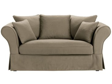 Baumwoll-Bezug für 2-Sitzer-Sofa, taupe Roma