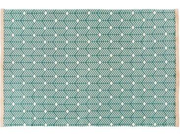 Grüner Baumwollteppich mit grafischen Motiven 160x230
